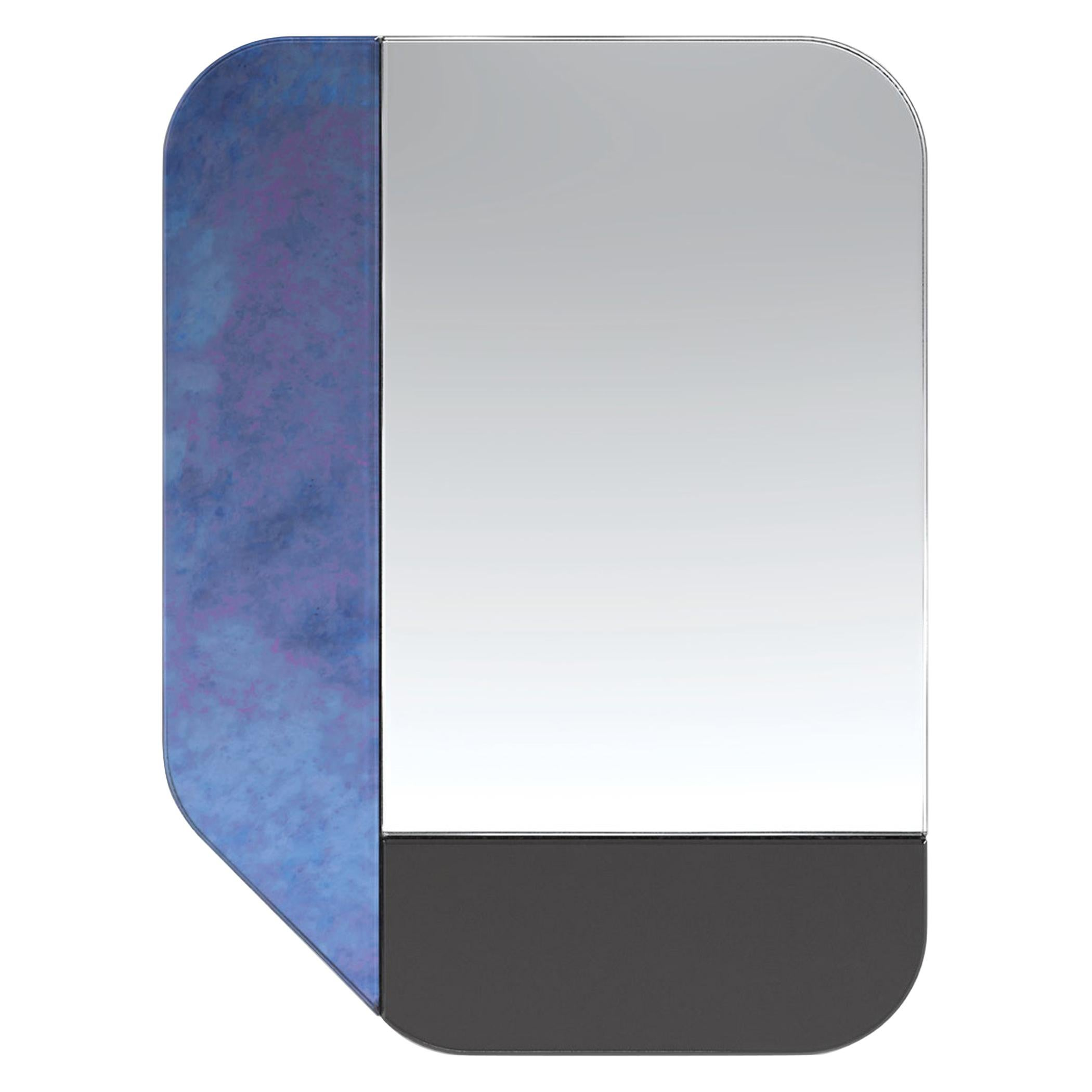 Blue and Black WG.C1.F Hand-Crafted Wall Mirror