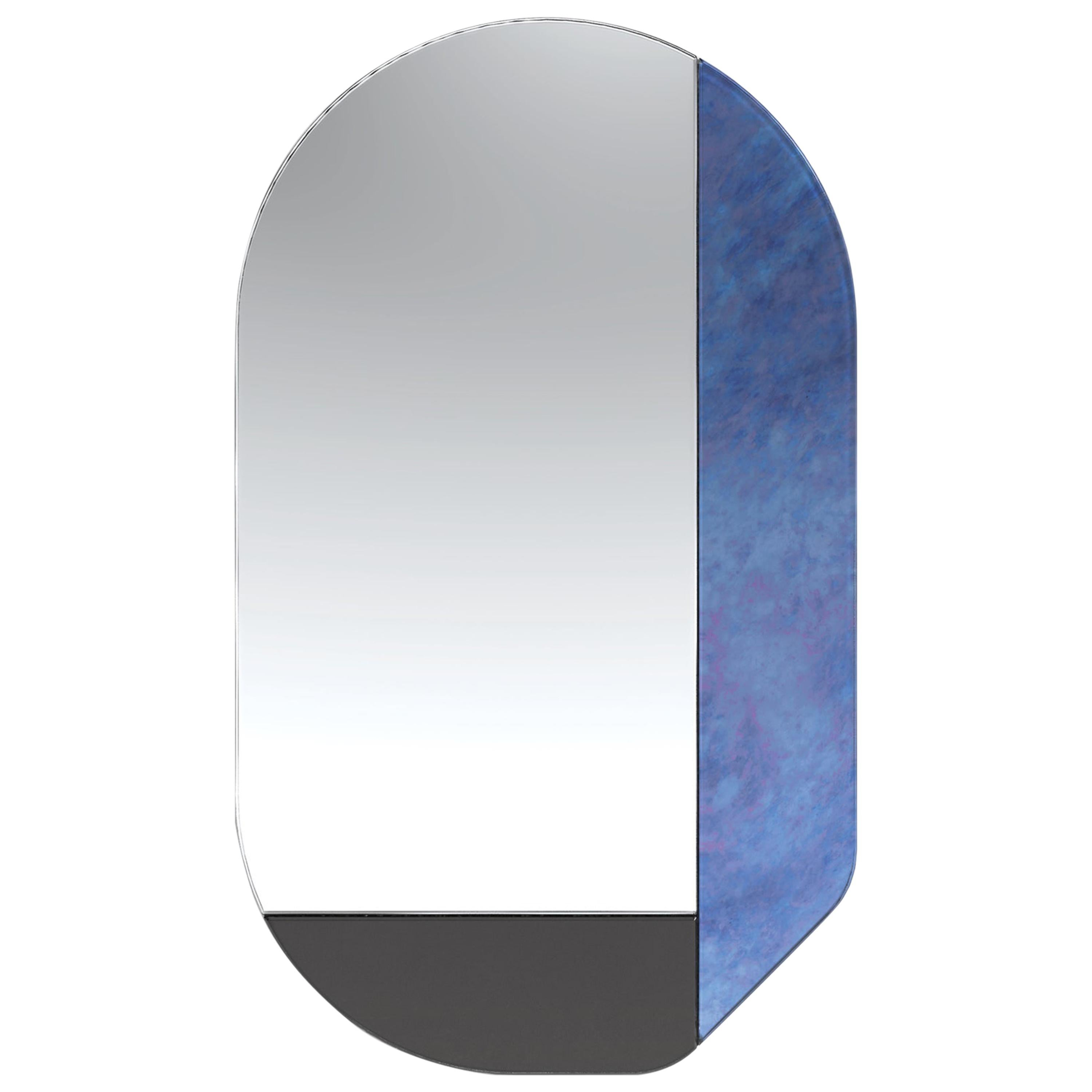 Blue and Black WG.C1.G Hand-Crafted Wall Mirror