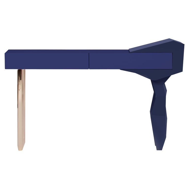 Blue and Brass Console, Royal Stranger For Sale