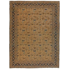 Blue and Brown Antique Persian Tabriz Rug