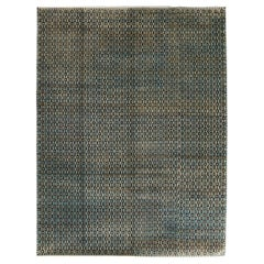 Blue and Brown Geometric and Contemporary Wool Area Rug