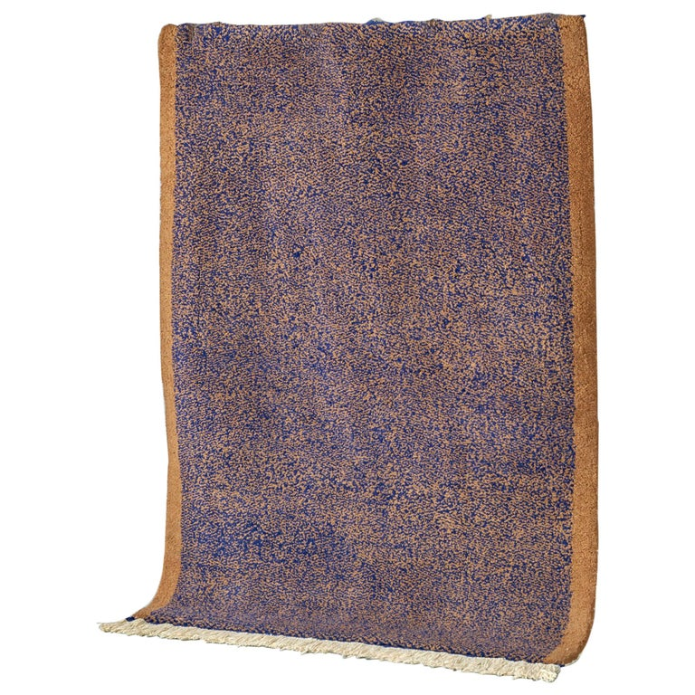 Blue and Brown Rug in Moroccan Hand Knotted Wool by Julie Richoz (Size: 10x14ft) For Sale