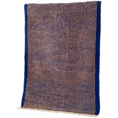 Blue and Brown Stereo Rug in Moroccan Hand Knotted Berber Wool by Julie Richoz
