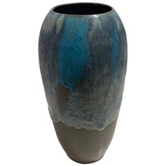Blue and Charcoal Stoneware Vase by Peter Speliopoulos, USA, Contemporary