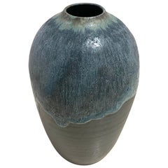 Blue and Charcoal Stoneware Vase by Peter Speliopoulos, USA