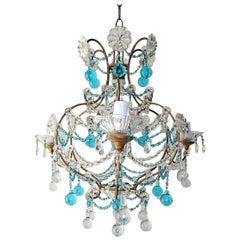 Blue and Clear Murano Drops Crystal Prisms Chandelier, circa 1920