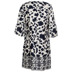 Blue and Cream Floral Printed Linen Flounce Sleeve Tunic Dress M