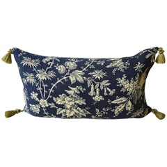 Blue and Cream Indienne Exotic Flowers Cotton Pillow French 19th Century