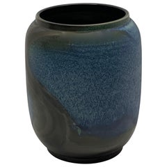 Blue and Dark Brown Barrel Shaped Vase, China, Contemporary