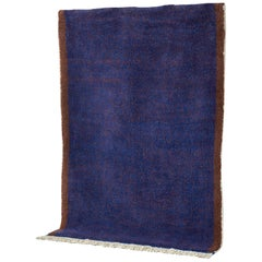 Blue and Dark Brown Rug in Moroccan Hand Knotted Wool by Julie Richoz