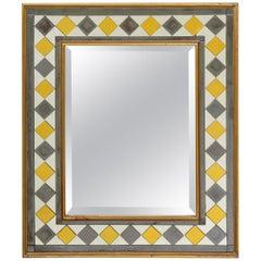 Blue and Gilt Verre Eglomisé Rectangular Mirror