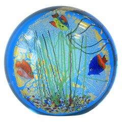 Blue and Gold Italian Murano Fish and Sea Art Glass Decorative Object