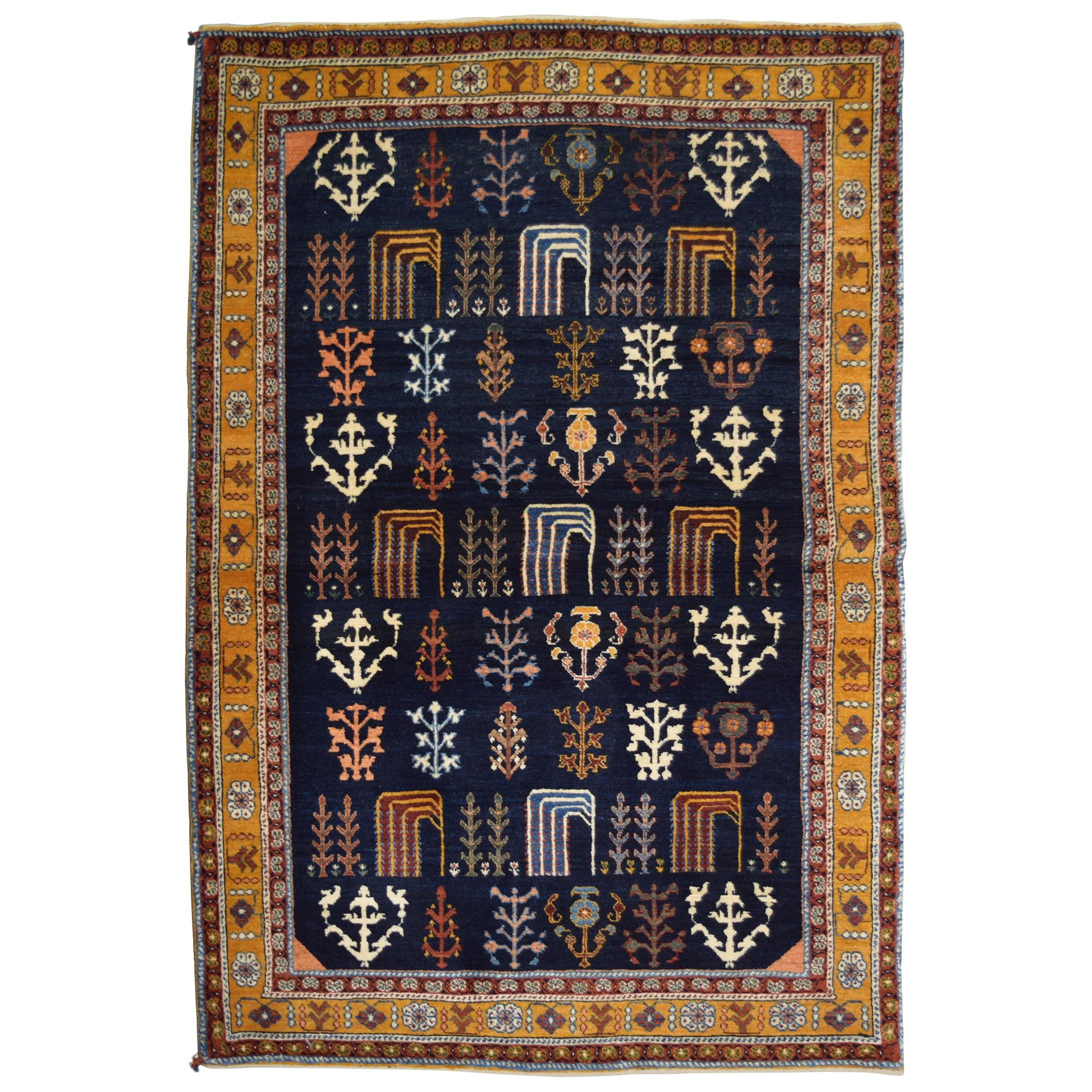 Blue and Gold Persian Kashkouli Carpet with Tree of Life Design