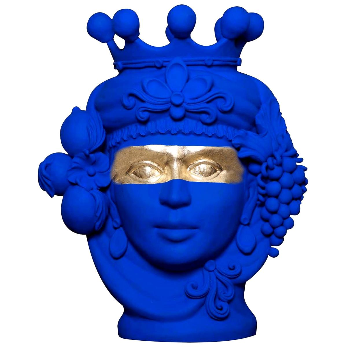 In Stock in Los Angeles, Yves Klein Blue & Gold Terracotta Vase, Stefania Boemi