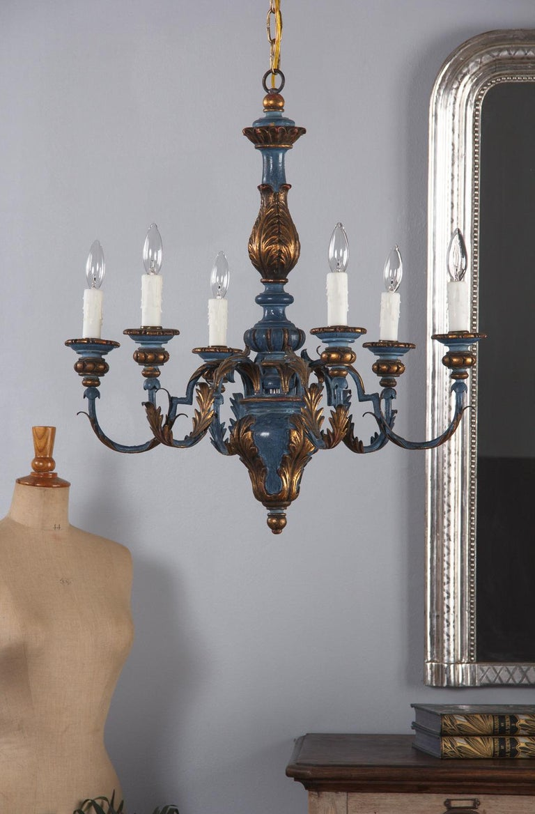 Blue and Gold Wooden Six-light Chandelier, Italy, 1930s For Sale 8