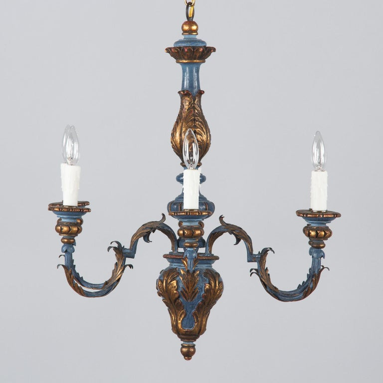 Blue and Gold Wooden Six-light Chandelier, Italy, 1930s For Sale 10