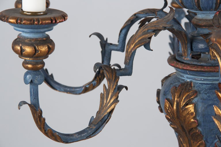 Gilt Blue and Gold Wooden Six-light Chandelier, Italy, 1930s For Sale
