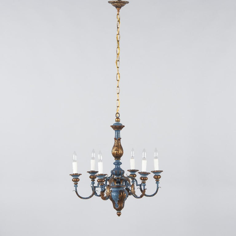 Blue and Gold Wooden Six-light Chandelier, Italy, 1930s For Sale 1
