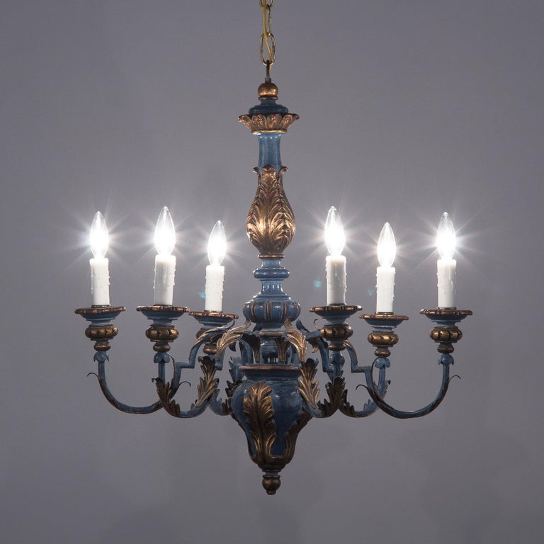 Blue and Gold Wooden Six-light Chandelier, Italy, 1930s For Sale 2