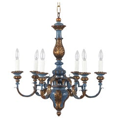 Blue and Gold Wooden Six-light Chandelier, Italy, 1930s