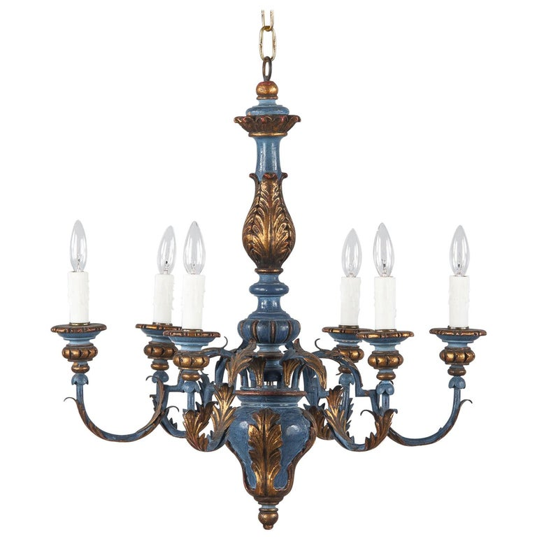 Blue and Gold Wooden Six-light Chandelier, Italy, 1930s For Sale