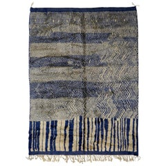 Blue and Gray Contemporary Moroccan Berber Rug