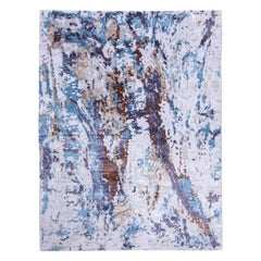 Blue and Gray Contemporary Rug Silk and Wool Abstract Design