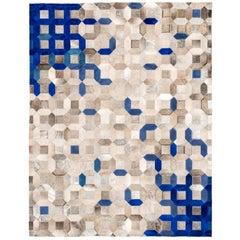 Blue and gray tessellation Trellis Customizable Cowhide Area Floor Rug X-Large .