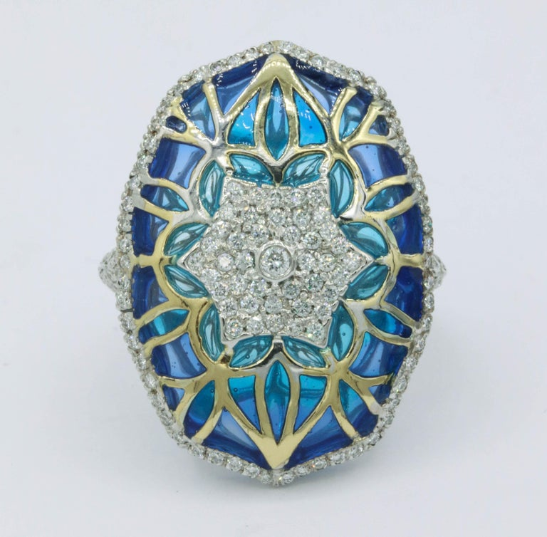 Blue and Green Enamel 18K Two Tone Ring 141 Round Diamonds 1.24 cts. H-I SI Quality The Ring will be sized free of charge