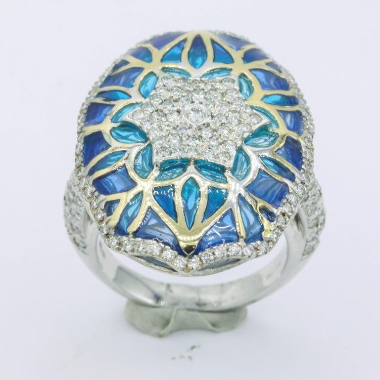 Contemporary Blue and Green Enamel with Diamonds Fashion Ring For Sale