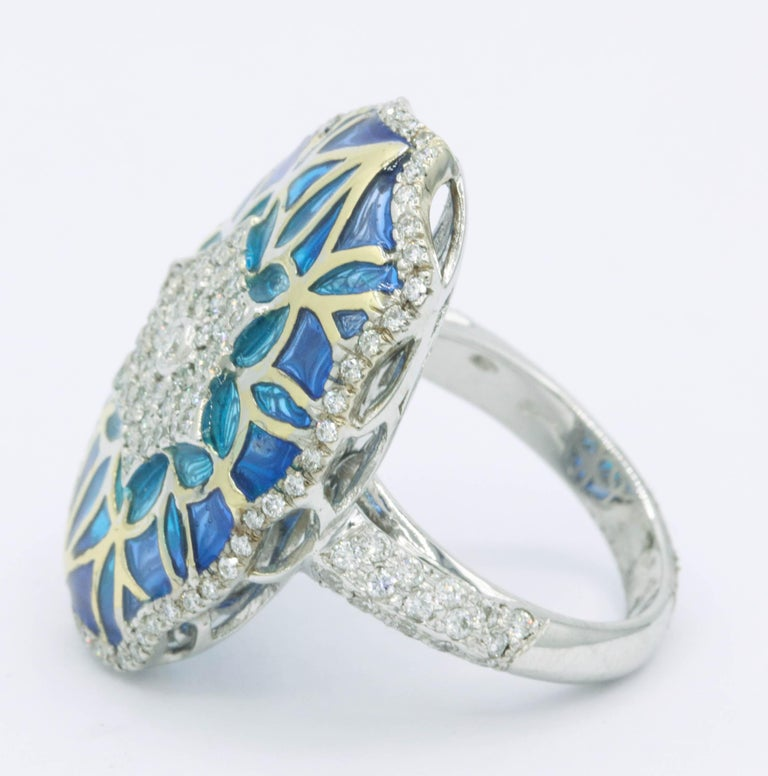 Round Cut Blue and Green Enamel with Diamonds Fashion Ring For Sale