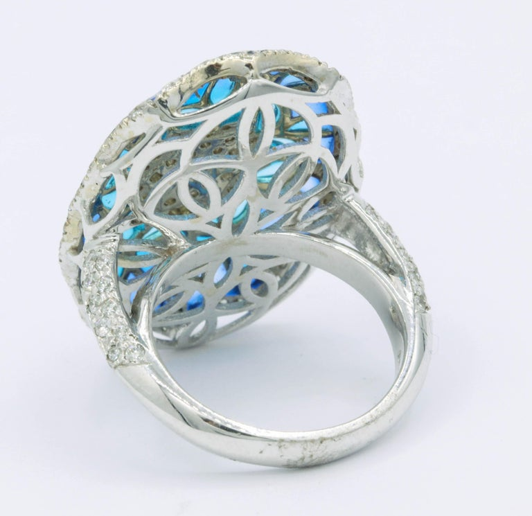 Blue and Green Enamel with Diamonds Fashion Ring In New Condition For Sale In New York, NY