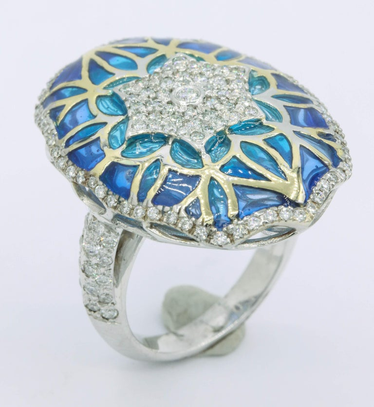 Women's Blue and Green Enamel with Diamonds Fashion Ring For Sale