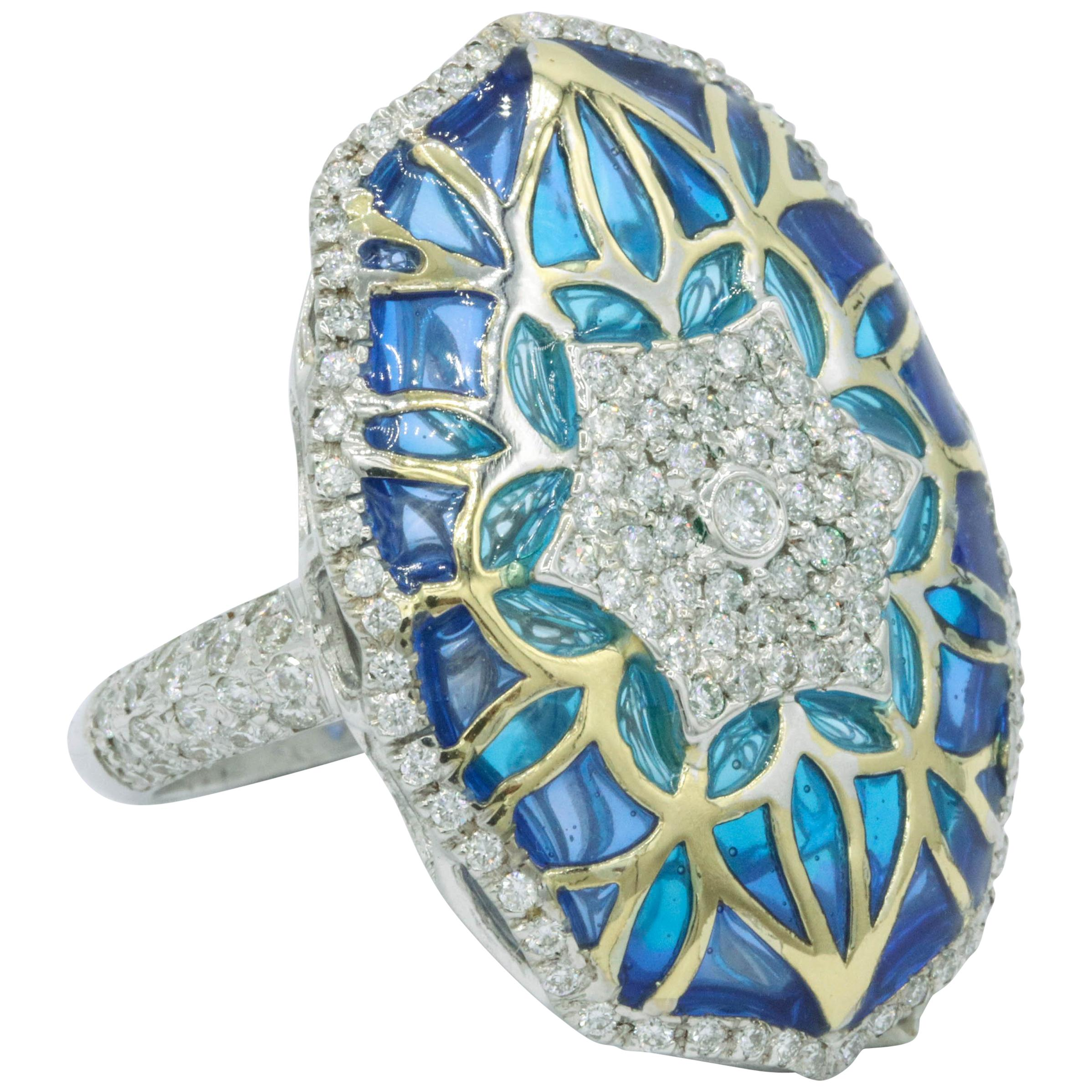 Blue and Green Enamel with Diamonds Fashion Ring