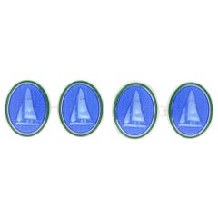 Blue and Green Enamel Yacht Sailing Cufflinks in British Sterling Silver
