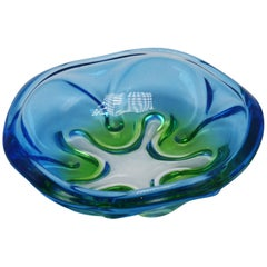Blue and Green Murano Glass Bowl, circa 1970