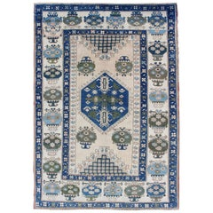Blue and Green Oushak Rug Vintage with Medallion