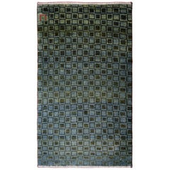 Blue and Green Wool Persian Gabbeh Carpet with Geometric Pattern