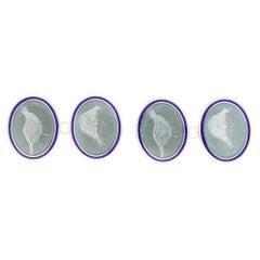 Blue and Grey Enamel Pheasant Cufflinks Set in British Sterling Silver