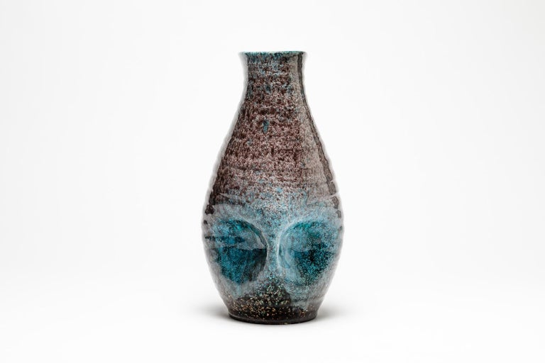 20th Century Blue and Grey Freeform Ceramic Vase by Accolay circa 1960 French Midcentury For Sale