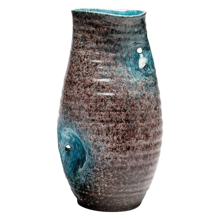 Blue and Grey Freeform Ceramic Vase by Accolay circa 1960 French Midcentury For Sale
