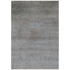 Blue and Grey Wool and Silk Rug from Modern Persian Collection by Gordian