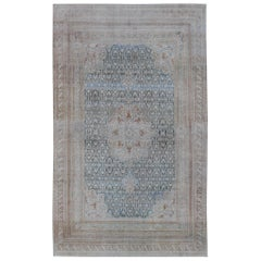 Blue and Ivory Antique Persian Mahal Rug with Floral Medallion Design