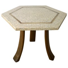 Blue and Ivory Terrazzo with Inlaid Brass Top & Mahogany Tripod Legs Side Table