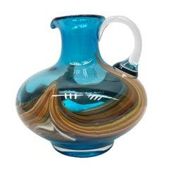 Blue and Multi Color Swirl Glass Murano Venetian Vase, Italy, 1970s