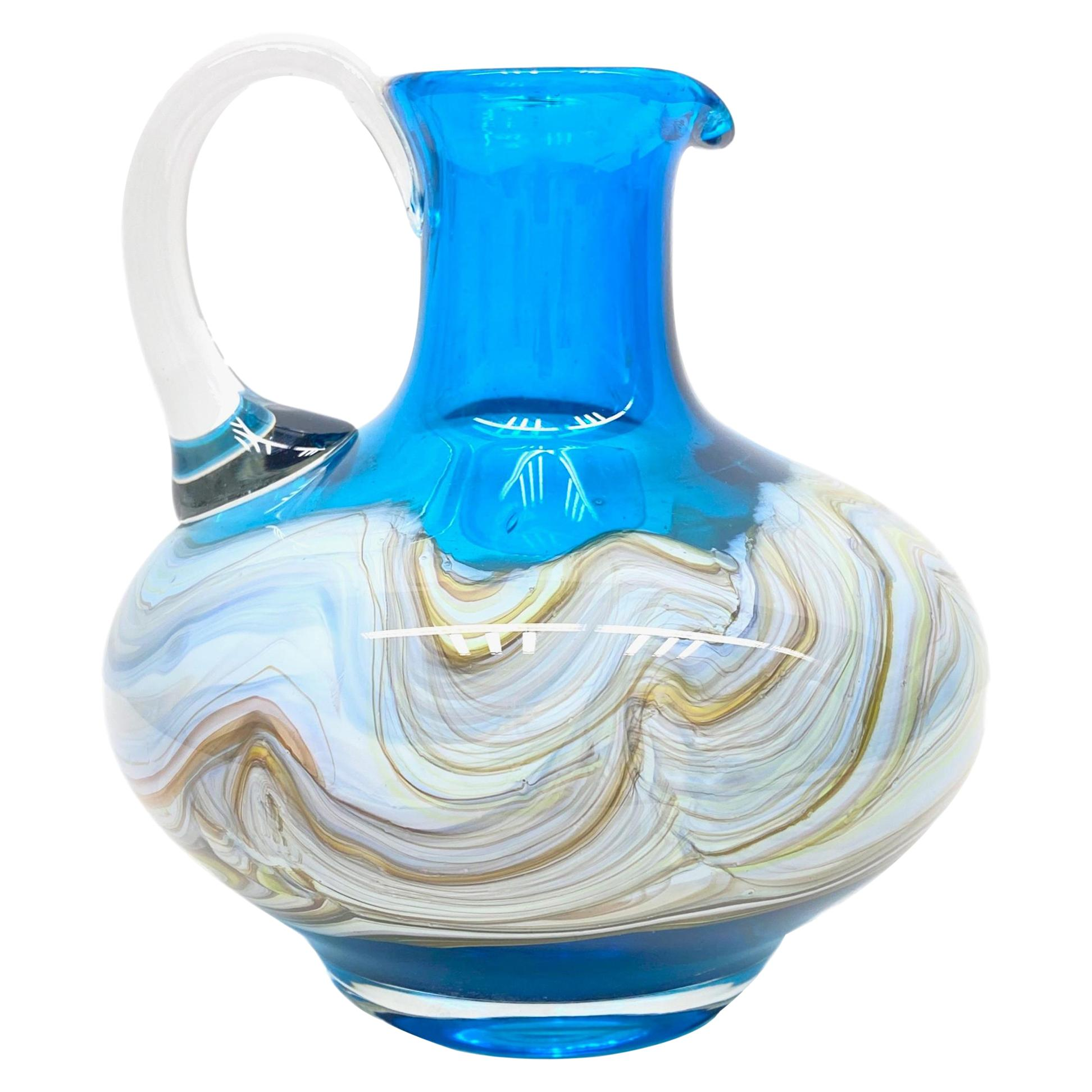 Blue and Multi-Color Swirl Glass Murano Venetian Vase, Italy, 1970s