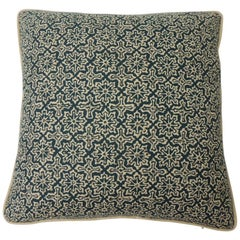 "Blue and Natural ""Alcazar"" Printed Decorative Pillow Two-Sided"