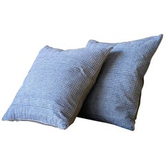 Blue and Natural Ticking Pillow Made from Antique Textiles