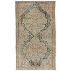 Blue and Brown Antique Persian Malayer Short Gallery Rug with Floral Medallions
