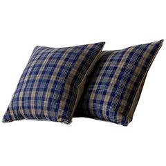 Blue and Orange Plaid Madras Pillow Made from Antique Textiles